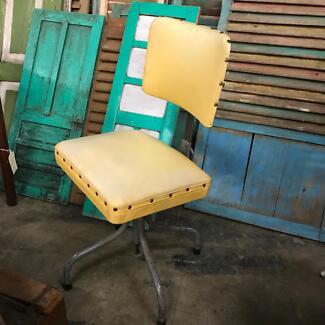 Vintage rustic industrial retro pale yellow desk chair