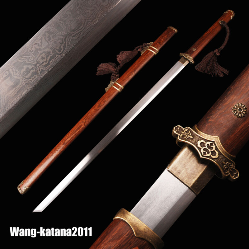 105CM Folded Steel Chinese Tang Dynasty Dao唐刀 Katakirihadukuri Rosewood Sword