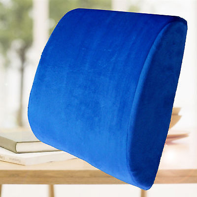 Blue Cushion Back Support Travel Pillow Memory Foam Car Seat Home Office Chair Auto Back Support