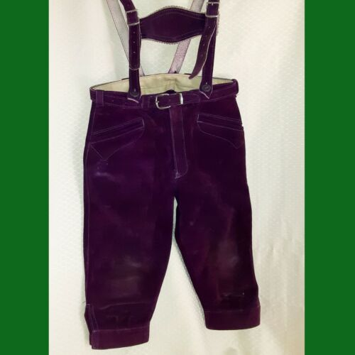 KNEE LENGTH BAVARIAN SUEDE OVERALL LEDERHOSEN Boys 4 Deep Purple Suede Xlnt