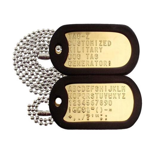 2 Military Dog Tags - Custom Embossed Brass - GI Identification w/ Silencers