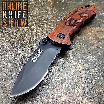 "8"" TAC FORCE SPRING ASSISTED WOOD FOLDING POCKET KNIFE Blade Tactical Open NEW"