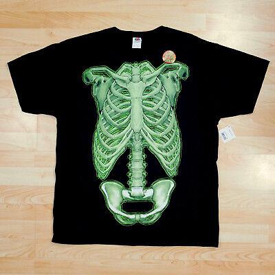 Skeleton Torso Tshirt Halloween Glow in Dark Black Bones Tee Rib Pelvis XL 46 48 - Skeleton Torso