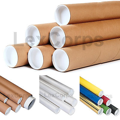ROUND SHIPPING TUBES - Many Sizes and Colors - Case, End Caps Included - Mailing Tubes Case