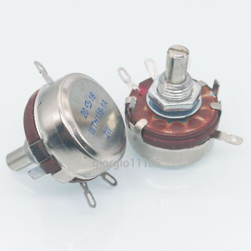 US Stock 2x 100K ohm 2W 6mm Round Shaft Rotary Taper Carbon Potentiometer WTH118