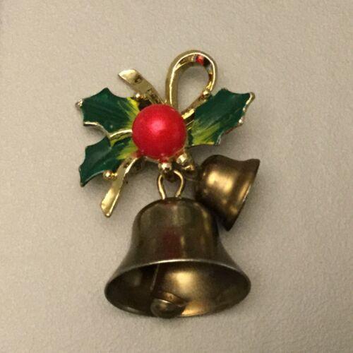 Vintage Estate Goldtone Christmas Bells Brooch Green Enamel Holly & Red Bead