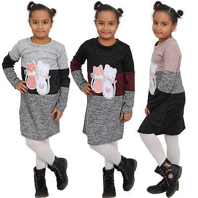 Kinder Kleid Katze Silber Pailletten Sweatshirt Strick Streifen Mädchen Herz