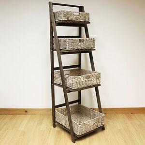 Dark Brown 4 Tier Wooden Ladder Shelf Display Unit & Light Wicker Storage Basket