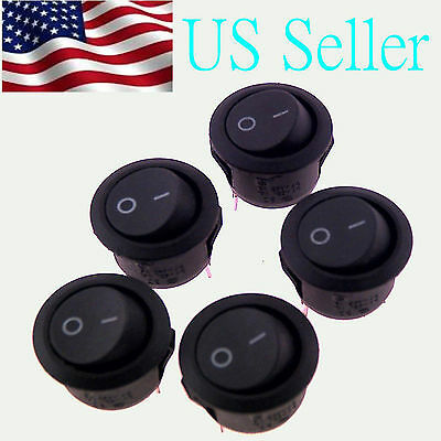 5X ROCKER SWITCHES 12V ROUND TOGGLE ON OFF 12 VOLT CAR SNAP IN SWITCH