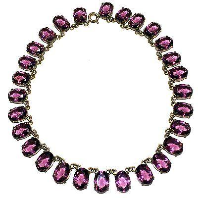 Antique Victorian Edwardian Amethyst Paste Purple Glass Necklace Choker Vintage