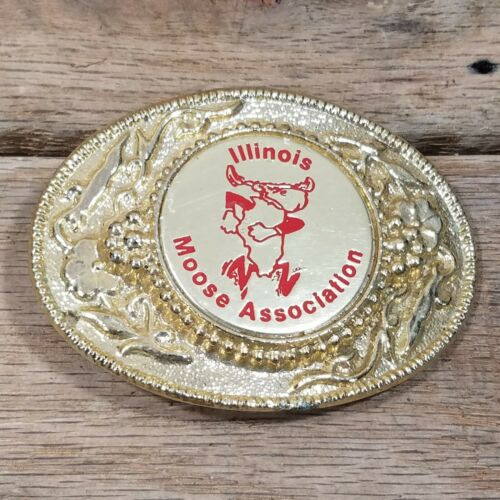 Illinois Moose Association Belt Buckle Gold Tone Vintage