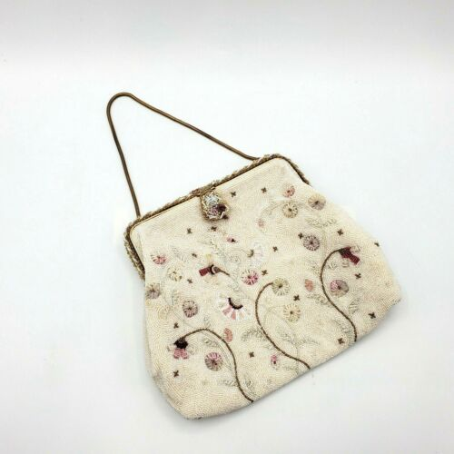 Vintage Beaded Purse France Floral Weddings Handmade French Handbag Ivory