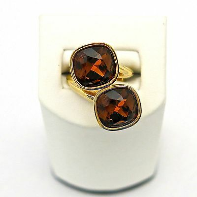 Rebecca Double Amber Brown Crystals Ring in Rose Gold Plated Bronze Amber Gold Plated Ring