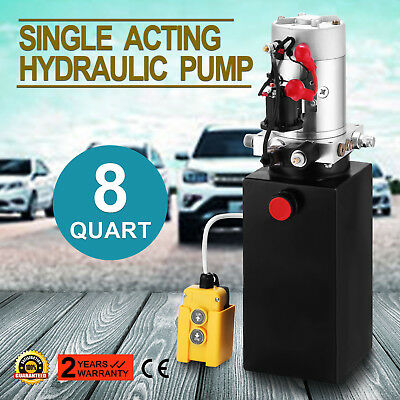 8 Quart Single Acting Hydraulic Pump Dump Trailer Car Lift 12v