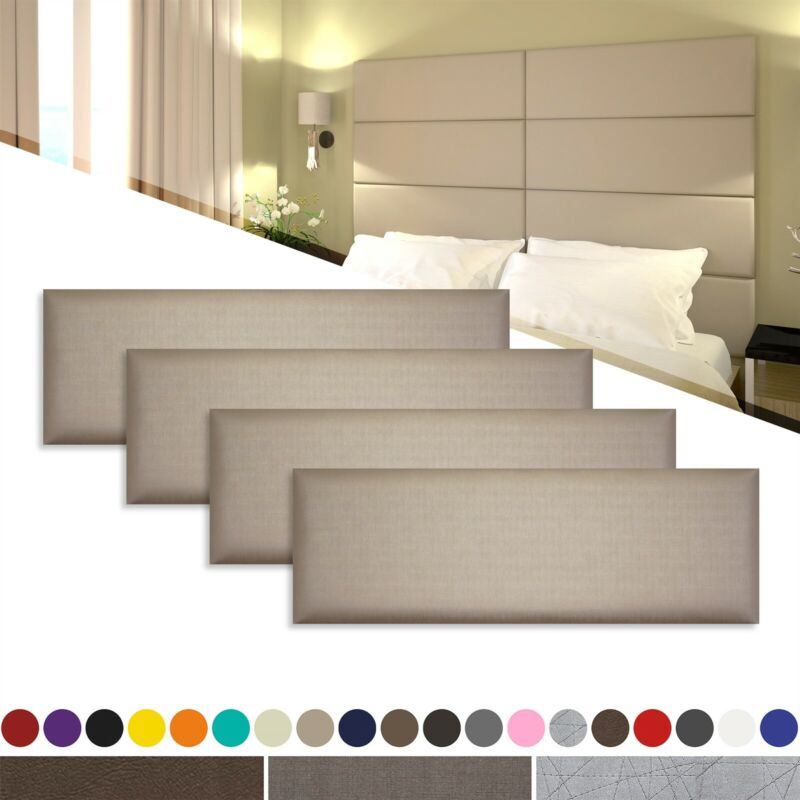"""4 Pack of 36"""" Wall Panel Pros Premium Padded Upholstered Wall Panel Tiles"""