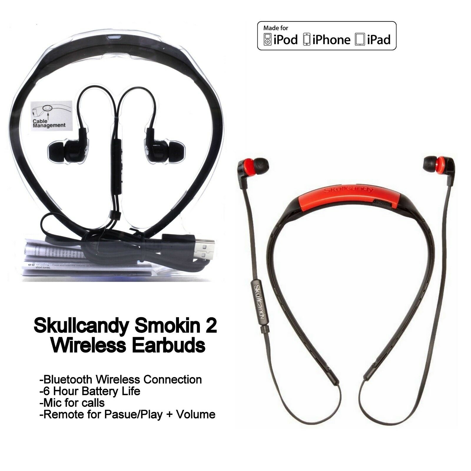 Skullcandy SMOKIN BUDS 2 Wireless Bluetooth Earphones with M