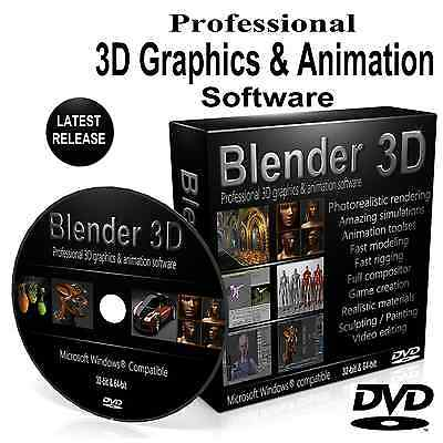 Blender 3D Professional Graphics Film Animation Studio Software DVD For Windows