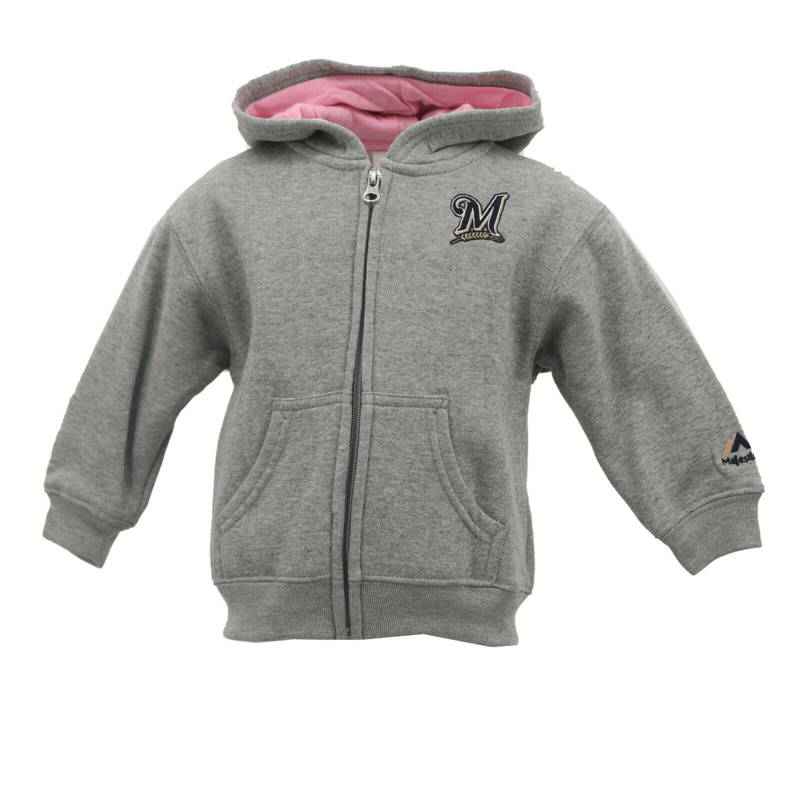 timeless design c9f21 5b338 Details about Milwaukee Brewers Baby MLB Infant Toddler Girls Size Full Zip  Hooded Sweatshirt