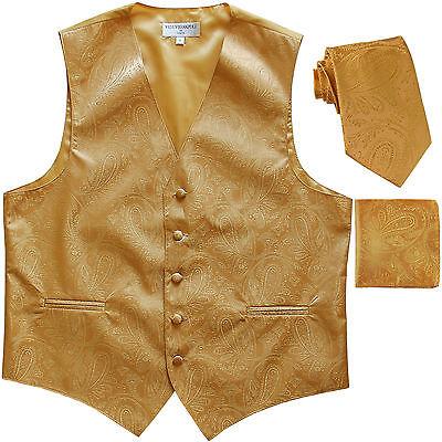 Gold Vest (New Men's Formal Vest Tuxedo Waistcoat_necktie set paisley wedding prom)
