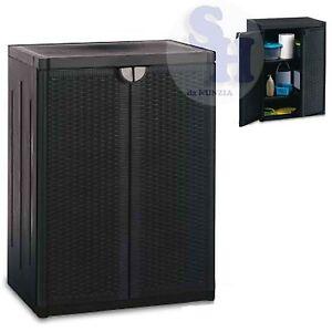 Mobiletto armadio resina rattan basso ripiani esterno - Mobiletto da esterno ...