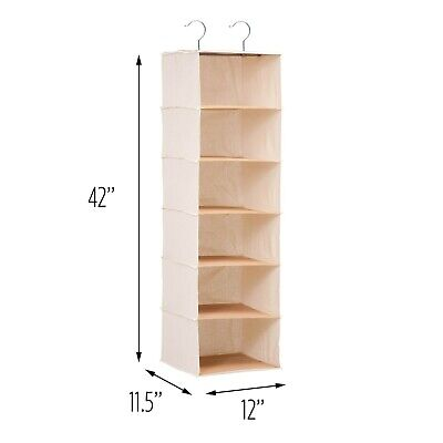 Honey-Can-Do SFT-01003 Hanging Closet Organizer Bamboo Canvas 6-Shelf  Canvas Closet Organizers