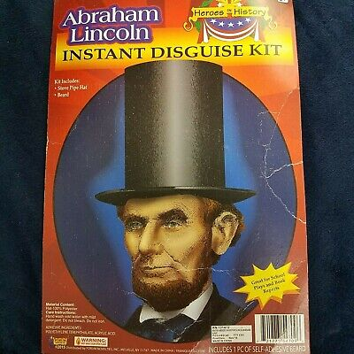 Abraham Lincoln Instant Disguise Kit Stovepipe Hat And Beard Disguise Kit
