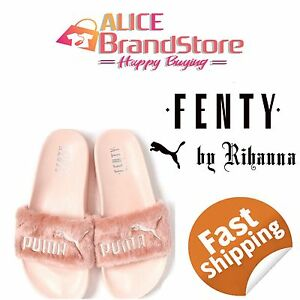 New-Women-039-s-Puma-X-Rihanna-Fenty-Lead-Cat-Fur-Slide-Slippers-Dust-Bag