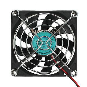 80mm 2 pin Computer PC Desktop Case Cooler CPU Cooling Fan Black Highspeed 12V