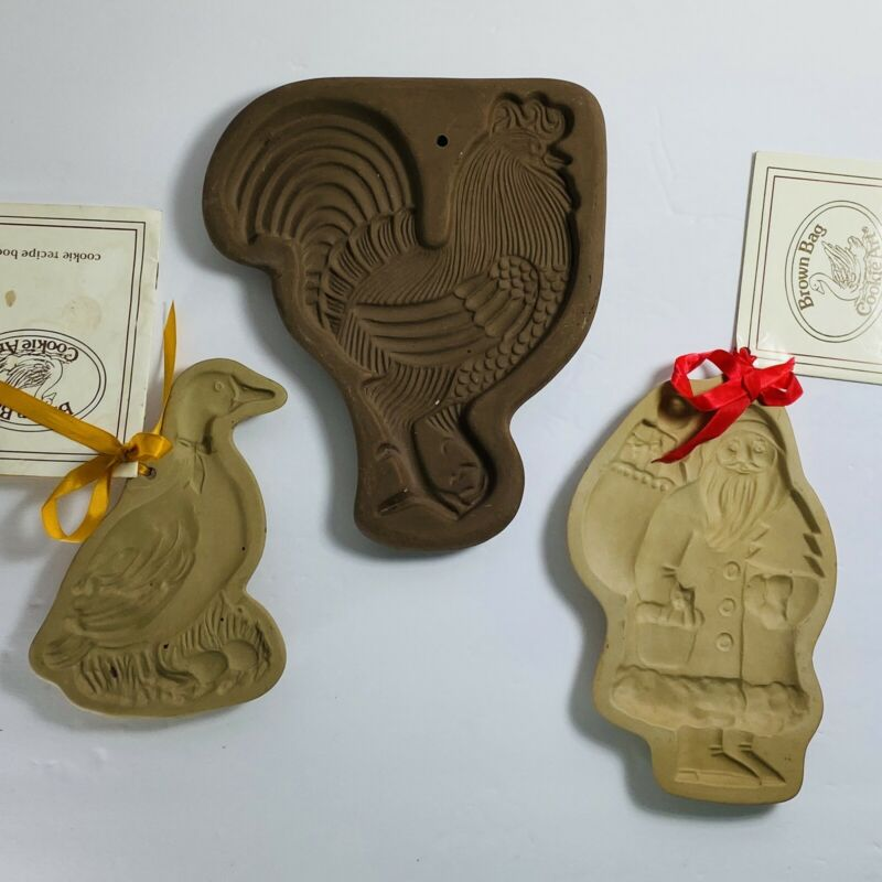 3 Clay Cookie Molds Santa Claus Goose & Rooster Brown Bag Cookie Art & Hartstone