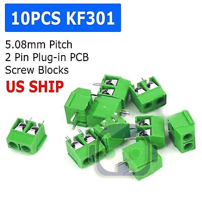 10pcs Brand Kf301-2p 5.08mm Terminal Green Screw Block Connector 5.08mm Pitch