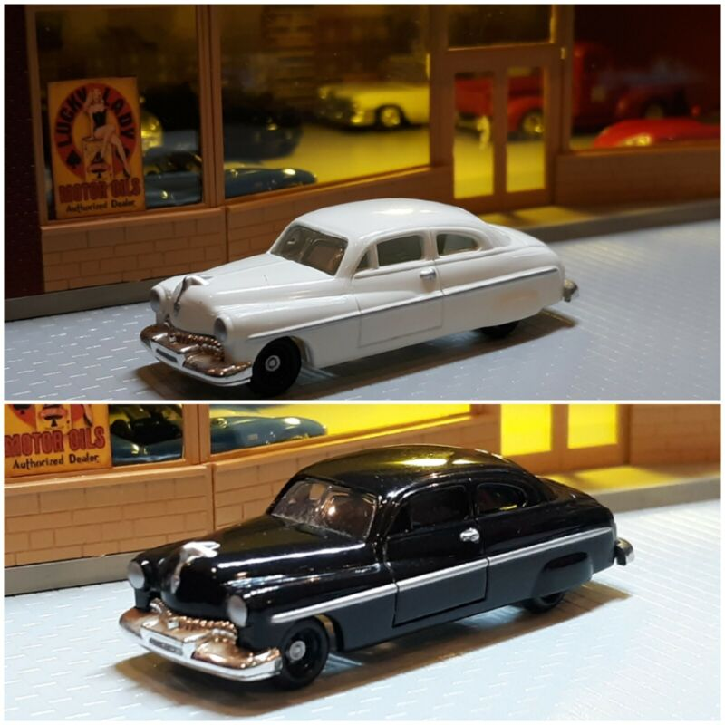 HO SCALE 1/87 1950 FORD 2 CARS LOT BLACK AND WHITE PLEASE SEE ALL PICTURES