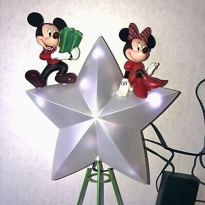 Disney Store Christmas Tree Topper Mickey Mouse Minnie Light Up Star in Box 2013