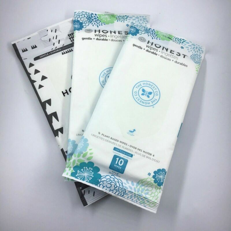 3 Pack Honest Plant-Based Baby Changing Wipes Gentle Durable / Travel Diaper Bag