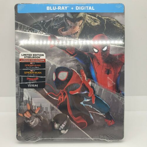 Spider-Man Steelbook 4 Movie Collection Blu-ray Digital NEW AND SEALED  - $28.88