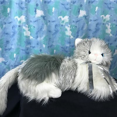 "Cat Large Plush Commonwealth 24"" Gray White Kitty Stuffed Animal Toy Vintage"
