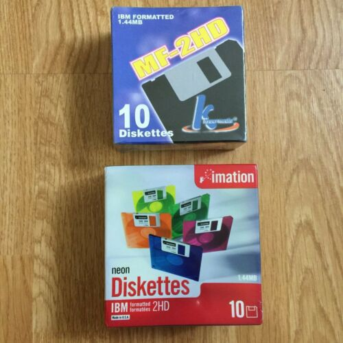 NEW & SEALED Imation Neon Diskettes 20 Pieces Storage IBM Formatted 2HD