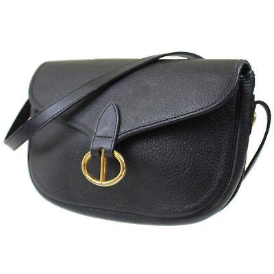 Christian Dior Shoulder Bag Black PVC Leather France Vintage Authentic #D932 I