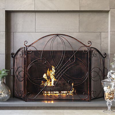 BCP 3-Panel 55x33in Wrought Iron Metal Fireplace Screen Cover w/ Scroll