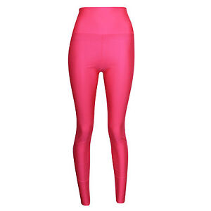 Womens Ladies American High Waisted Disco Shiny Wet Look Leggings PVC Pants 6-14