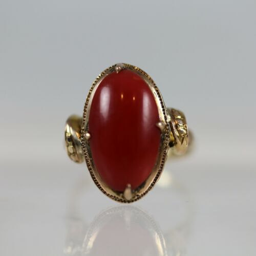 ANTIQUE CHINESE  14K YELLOW GOLD & RED CORAL RING