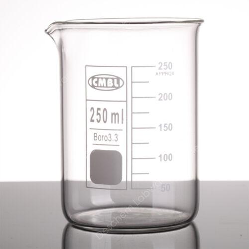 250mL Glass Beaker,4pcs/lot,Low Form Boro Beakers,Lab Chemistry Glassware