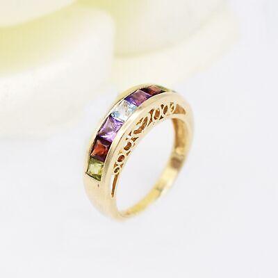 14k YG Multi-Colored Gemstone Filigree Band/Ring Size covid 19 (14k Yg Multi Gemstone coronavirus)