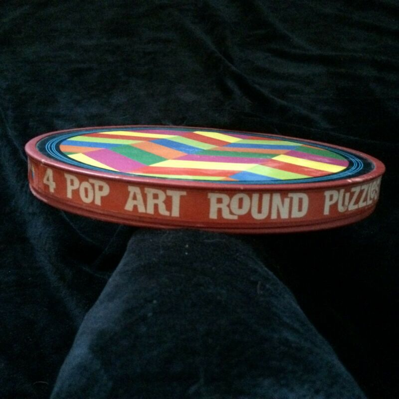 Vintage 1966 PLATT & MUNK 4 Pop Art Round Colorful Geometric Mosaic Puzzles