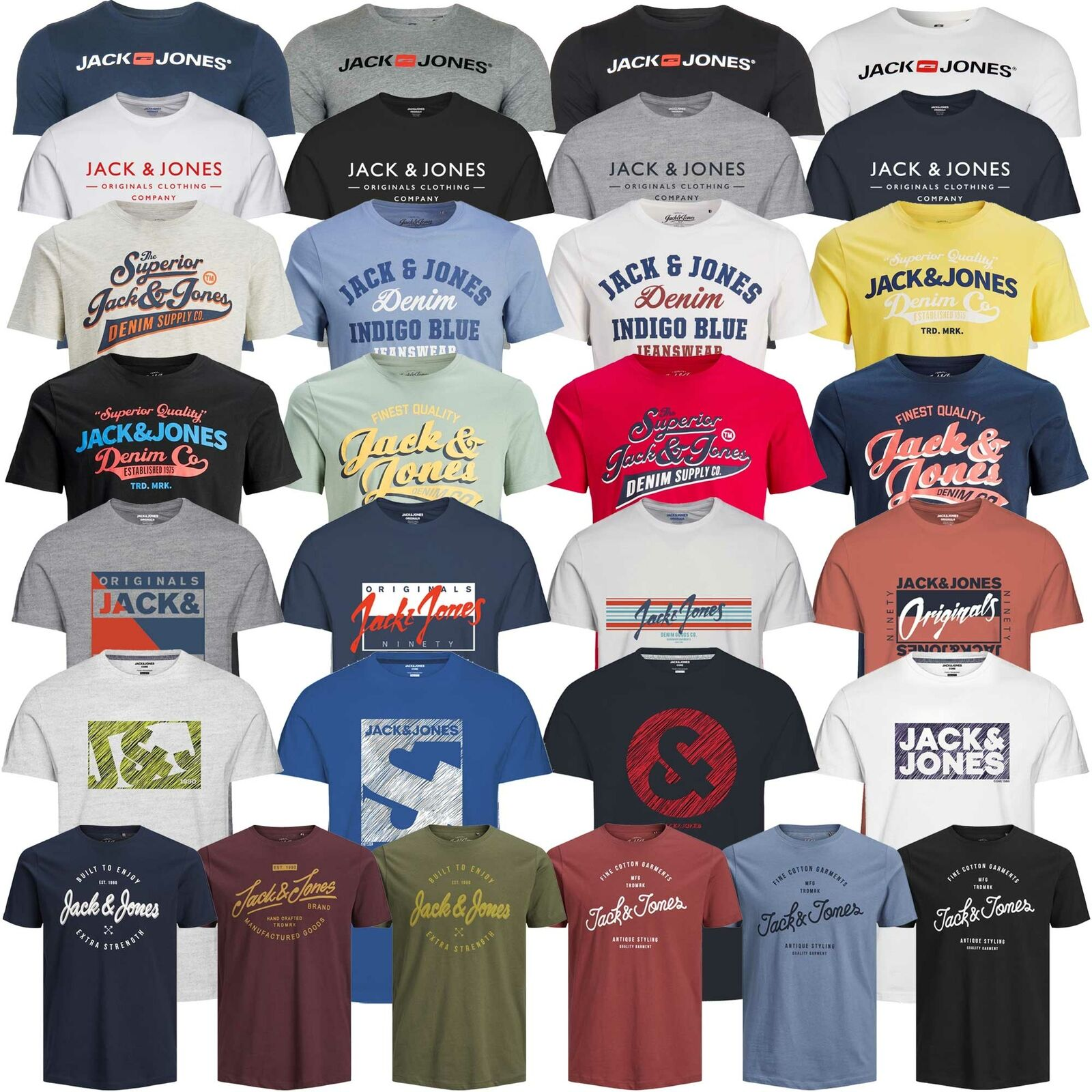 Jack & Jones Herren T-Shirt Rundhals Kurzarm Sport Clubwear Party UVP 12,99€