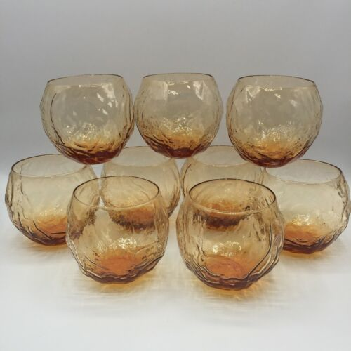 Set of 9 Lido Milano Vintage Anchor Hocking Roly Poly 8oz Amber Crinkle Glasses