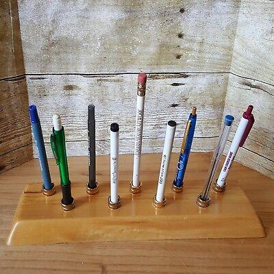 Vtg Nine Pen Holder Stand Solid Wood Gold Metal Desk Accessory - Holds 9 Pens