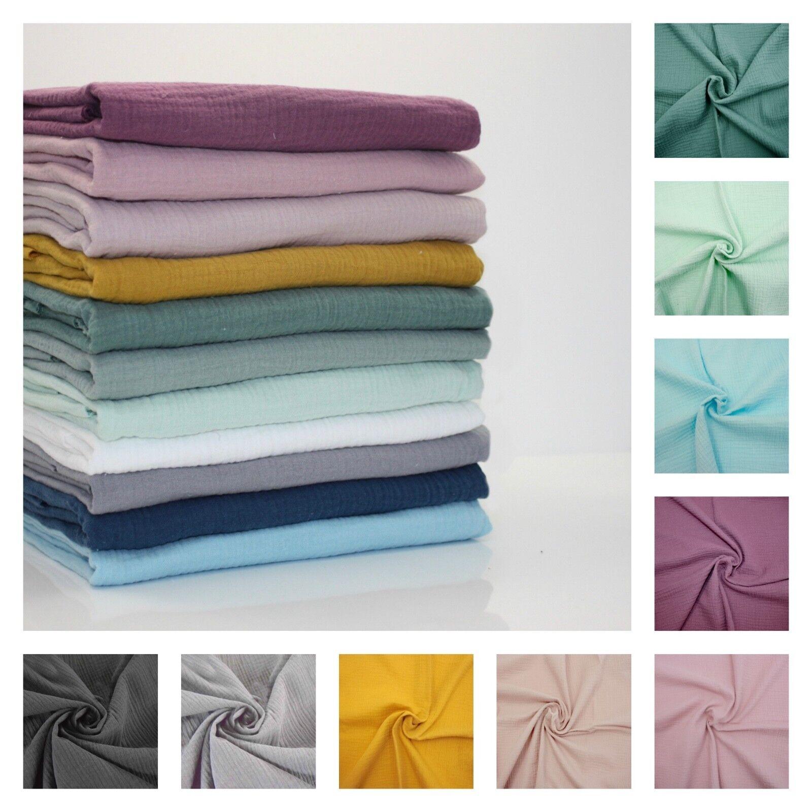 Doré Pois Double Gaze 100/% Tissu Coton Fabrication de Robes Mousseline Oeko-Tex