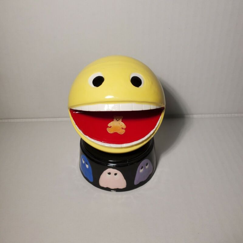 Vintage Pac man Ceramic Display Yellow Figure With Ghosts