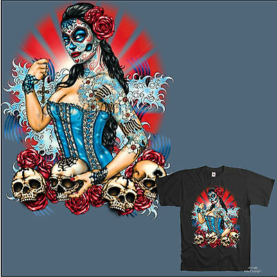 Tattoo Pattern Gothic Mexican Style Muerte Skull Makeup T-Shirt with Print 1011 - Skull Makeup Male