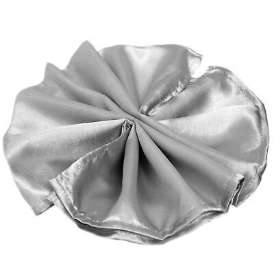 Package of 5 Satin Napkins - Silver ~Wedding Party Holiday Dinner Catering~ - Holiday Dinner Napkins